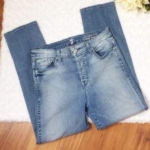 7 FAM CROP HIGH WAISTED SIZE 29 BUTTON FLY